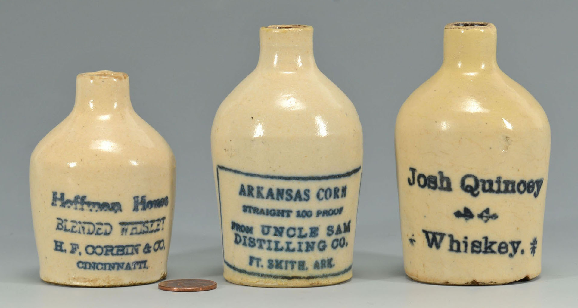 Lot 550: 3 Miniature Whiskey Jugs, AR, IL, and OH