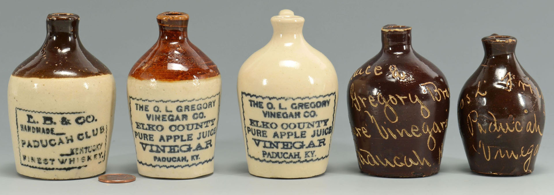 Lot 551: 5 Paducah KY Miniature Whiskey & Vinegar Jugs