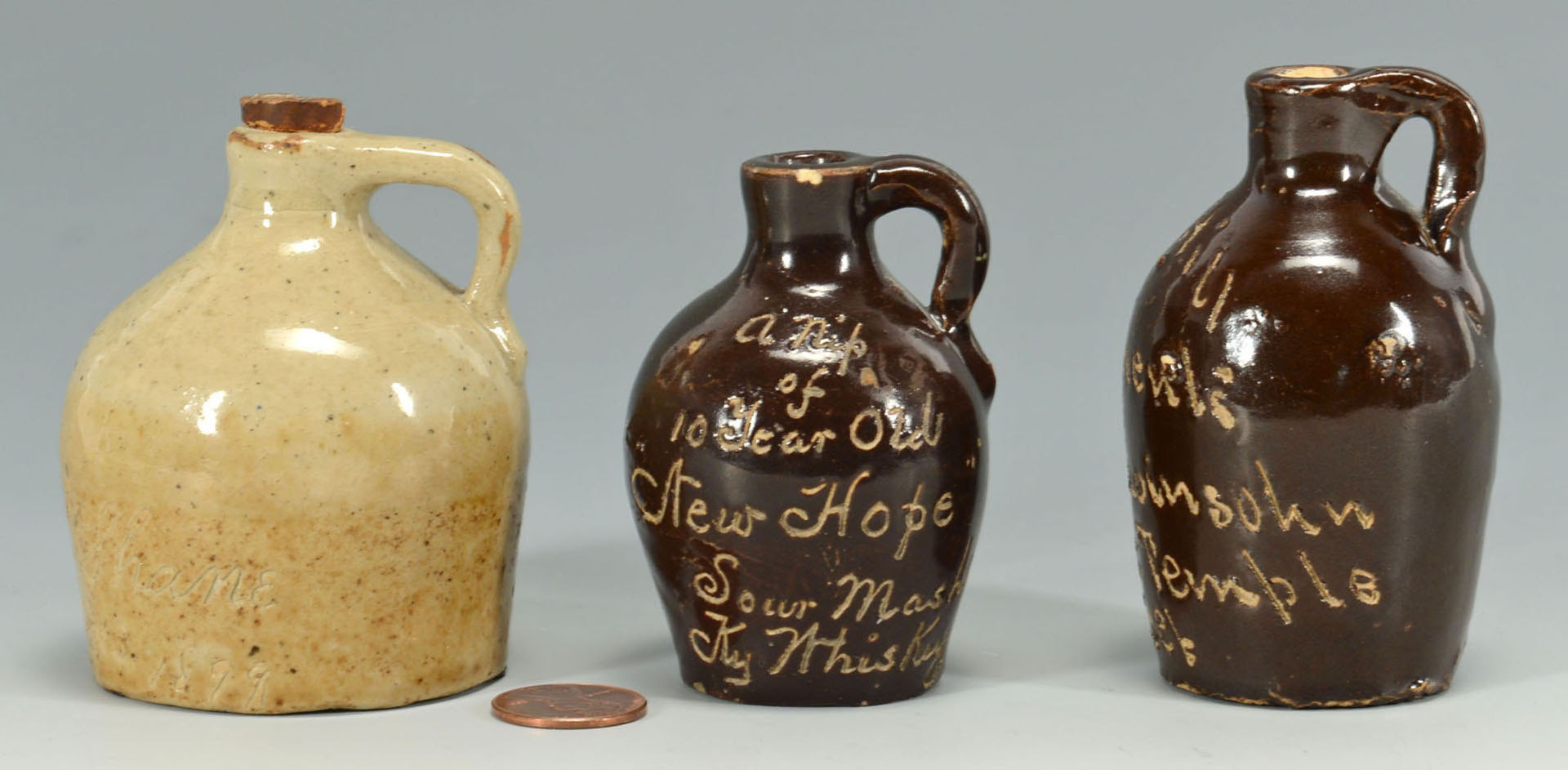 Lot 552: 3 Miniature Jugs, Incised Script, One KY Whiskey