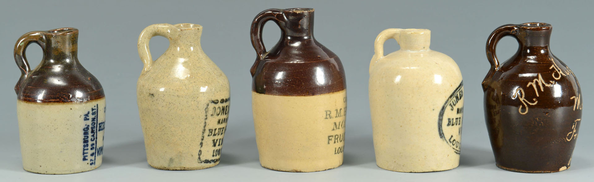 Lot 553: 5 Miniature Vinegar Jugs, Louisville, Kentucky