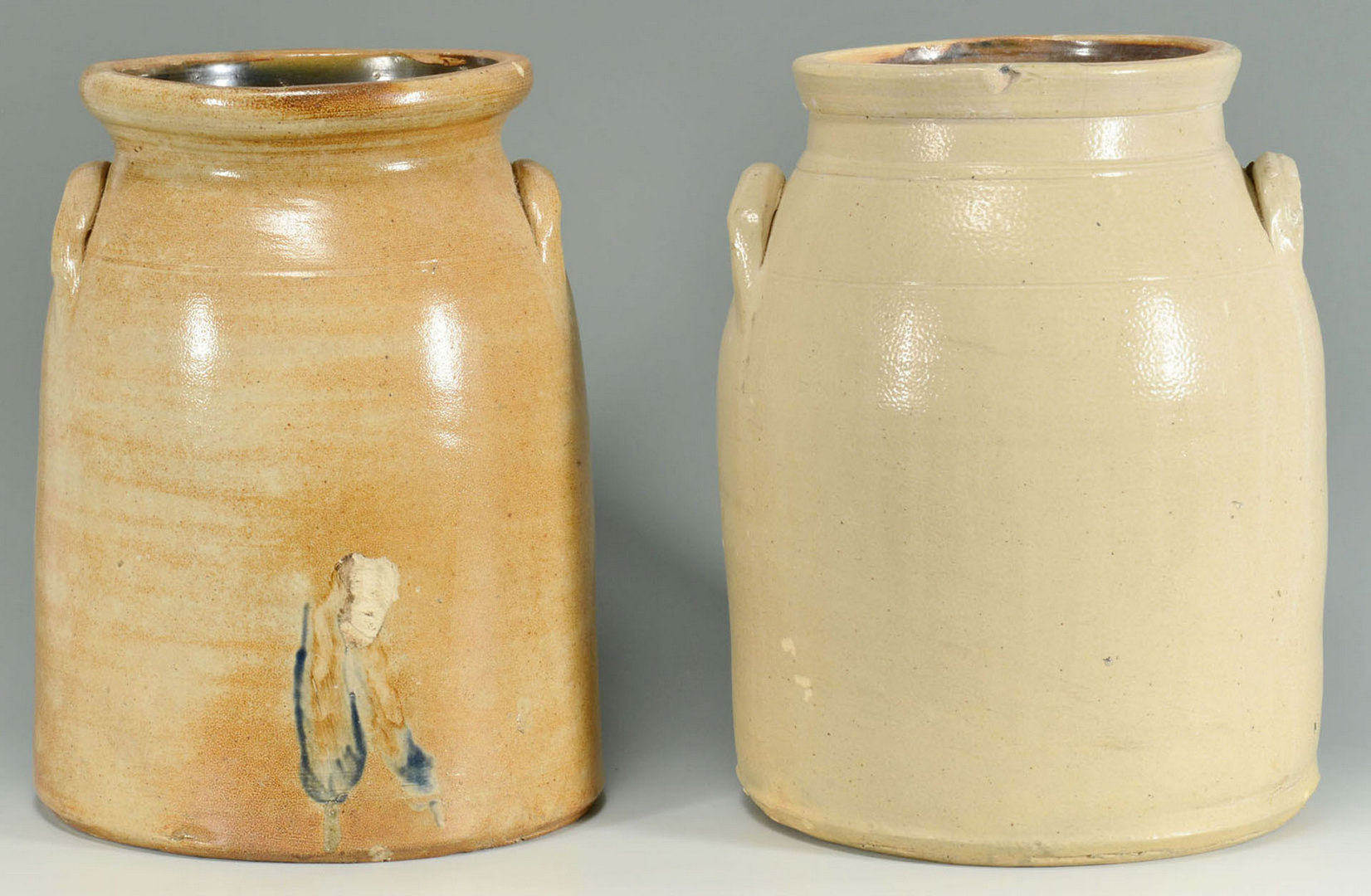 Lot 555: 2 CT Stoneware jars with cobalt decoration