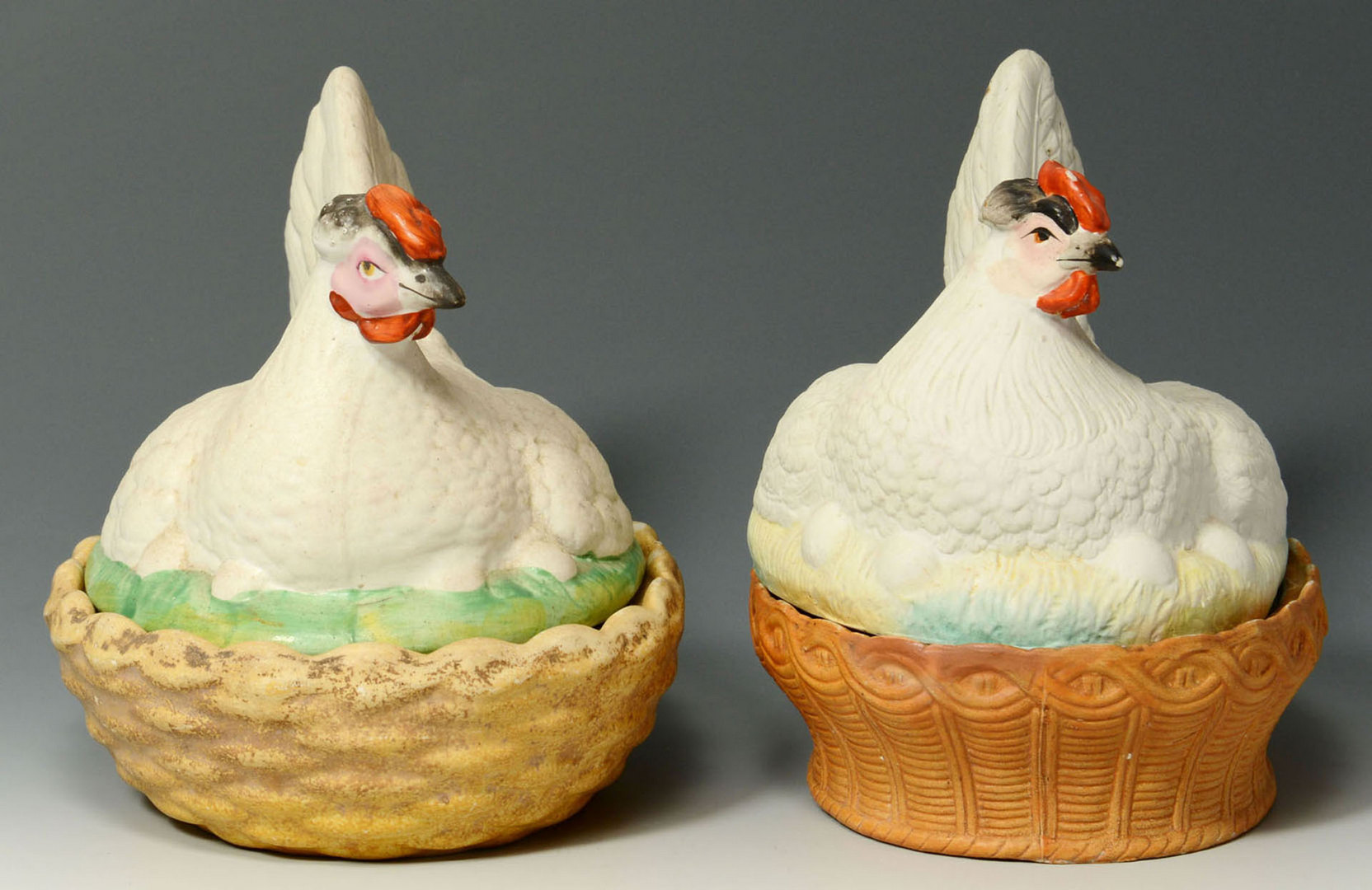 Lot 558: Two Staffordshire Hens on Nests
