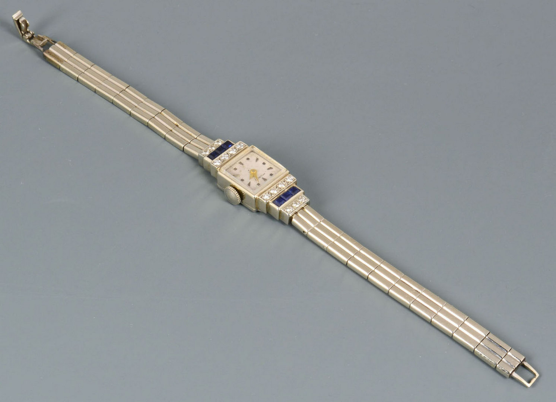 Lot 55: Movado Art Deco 14k Dia & Sapphire Lady's Watch