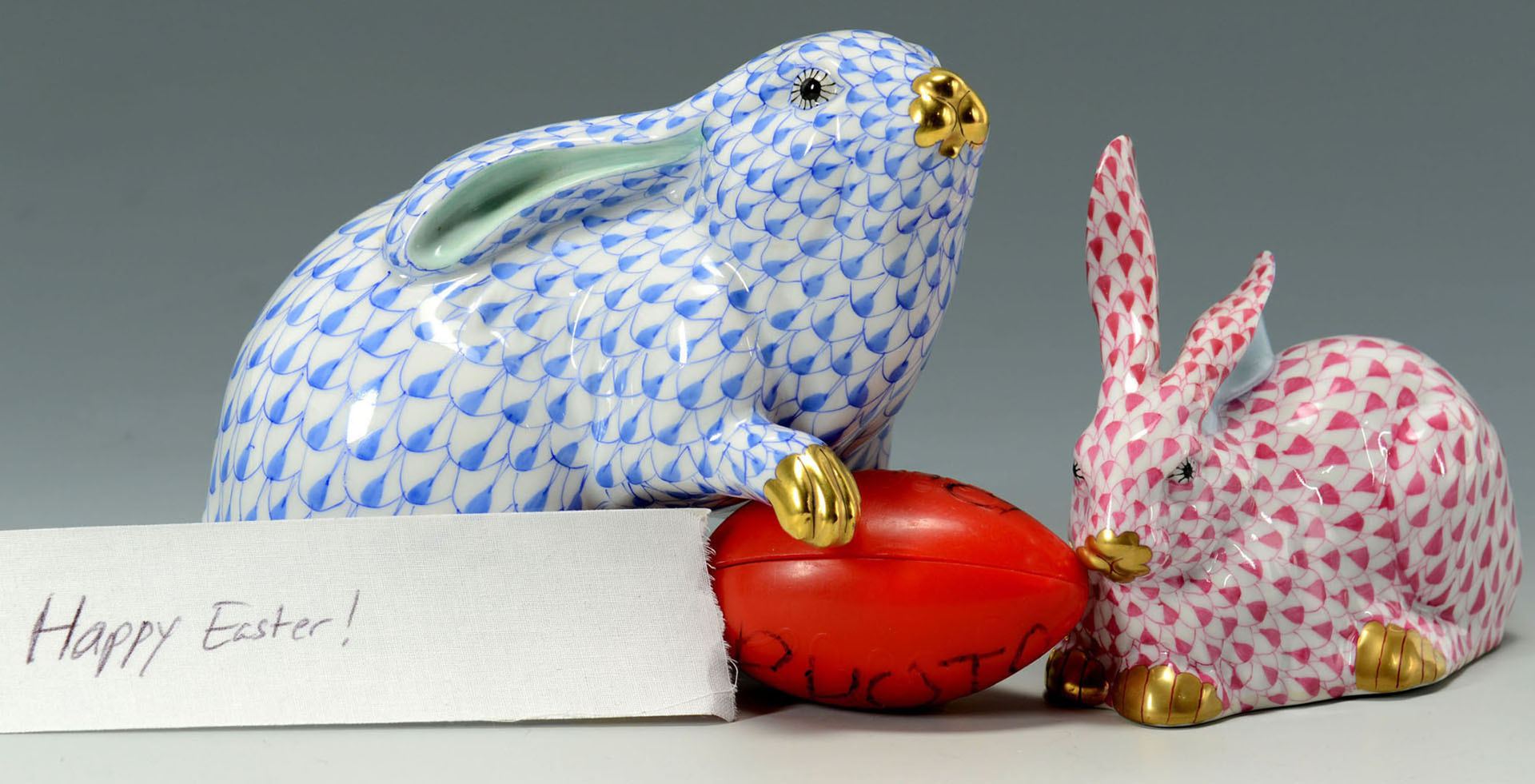 Lot 562: 2 Herend Porcelain Rabbit Figures