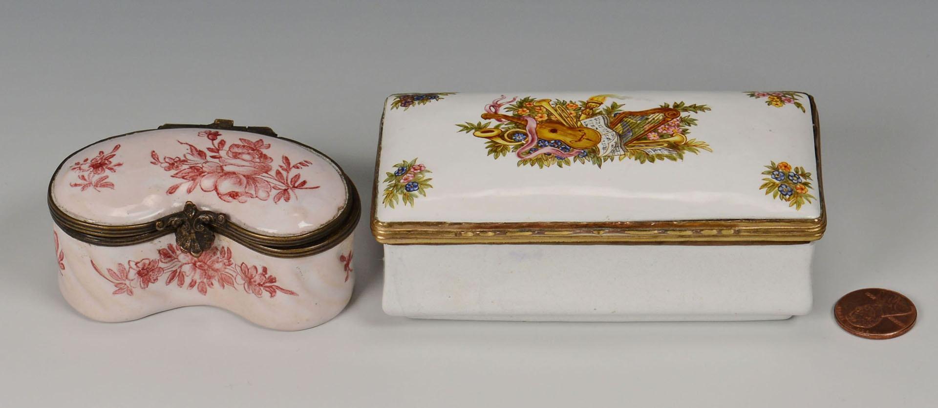 Lot 566: 2 19th century enamel boxes inc. Veuve Perrin