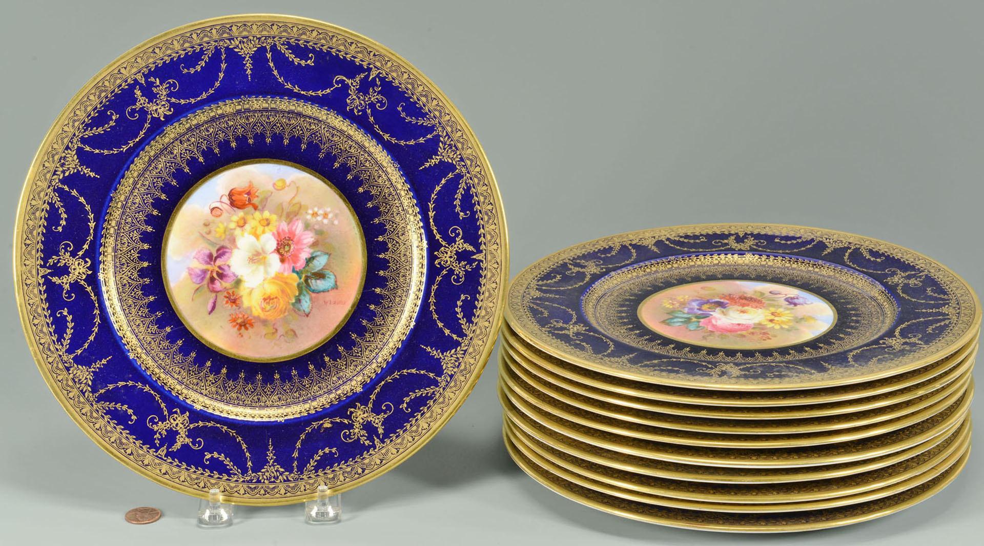 Lot 569: 12 George Jones Crescent & Sons Service Plates, co