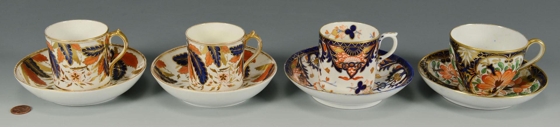 Lot 570: 4 English Imari cups and saucers inc Miles Mason