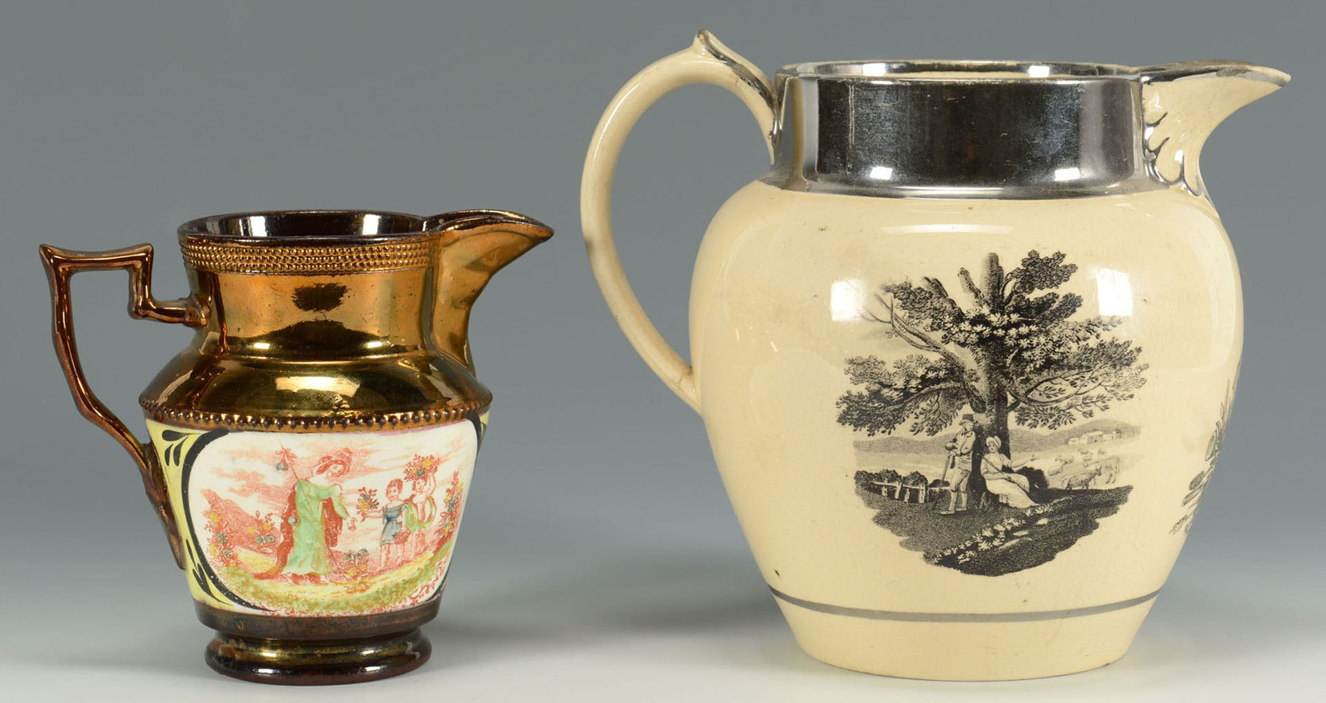 Lot 573: 3 Lustreware jugs inc. Wellington, Sunderland, Cop
