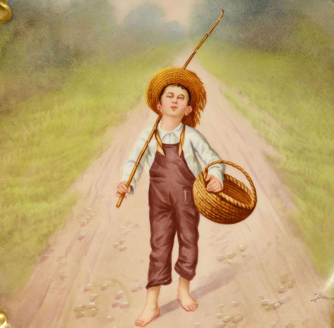 Lot 575: Limoges artist signed plaque, Boy Fishing