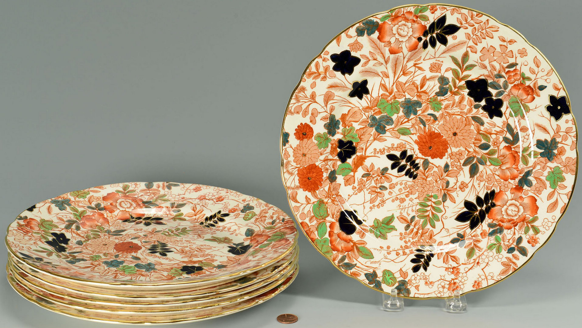 Lot 577: 6 English Royal Cauldon Porcelain Plates, Bittersw