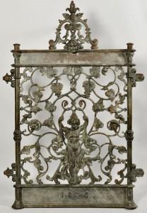 Lot 579: Ornate Figural Cast Iron Gate, Dated 1874