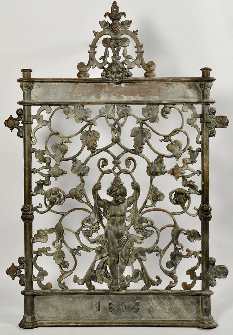 Lot 579: Ornate Figural Cast Iron Gate, Dated 1874