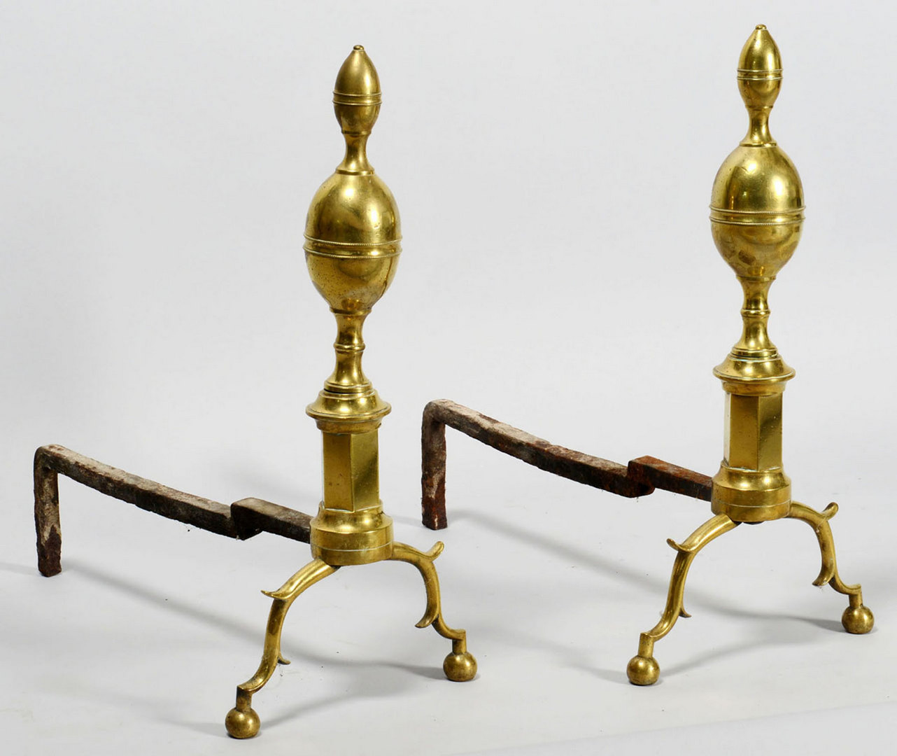 Lot 582: Pair Brass Andirons