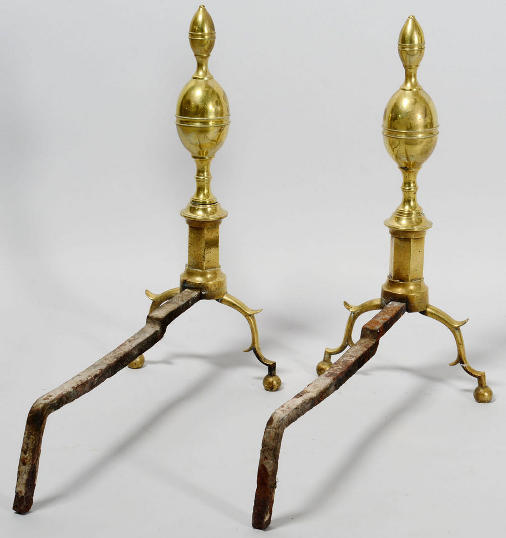 Lot 582: Pair Brass Andirons