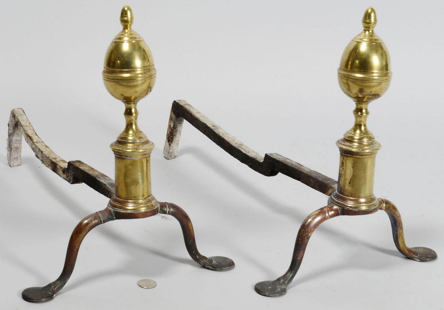 Lot 583: Small Brass Acorn or Lemon Top Andirons