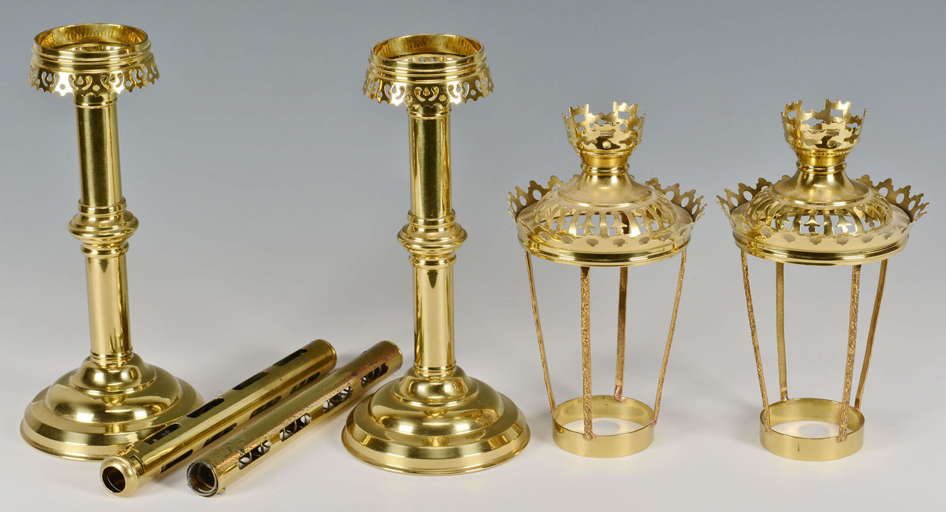 Lot 588: 4 Brass Altar Candlesticks