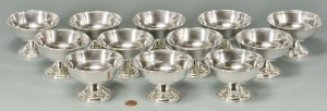 Lot 589: 12 Sterling Silver footed ice cream dishes