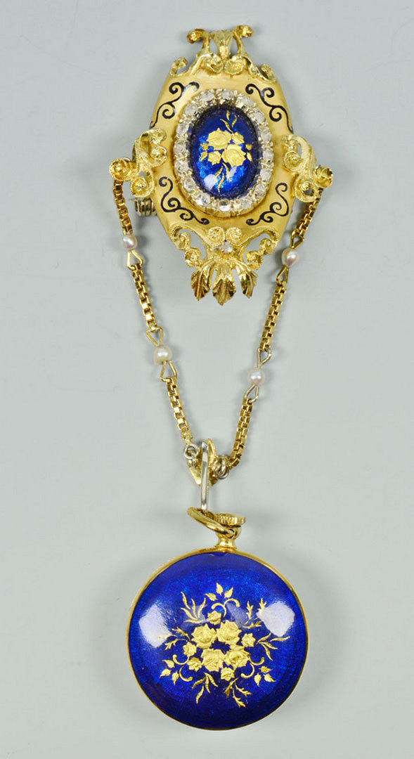 Lot 58: Montreux 18K Enameled Pendant Watch