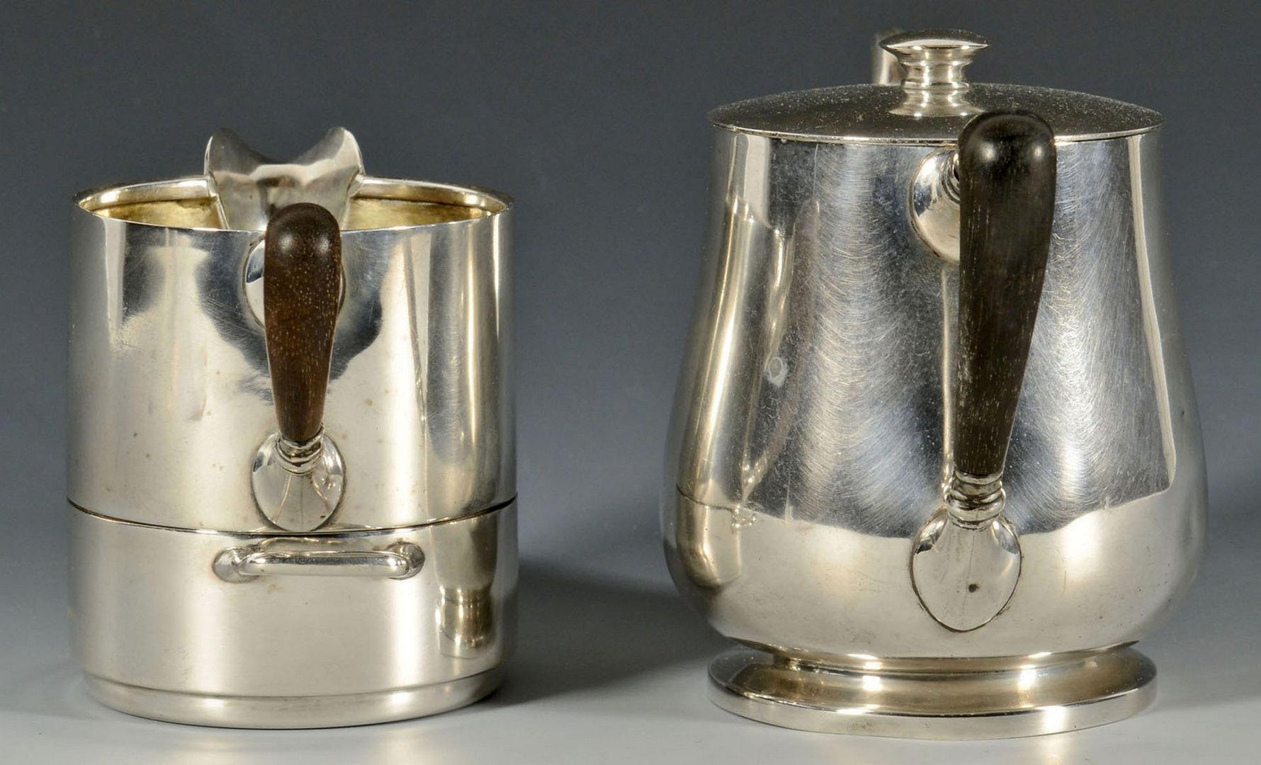 Lot 590: Sterling Stacking Coffee pot, sugar, creamer set