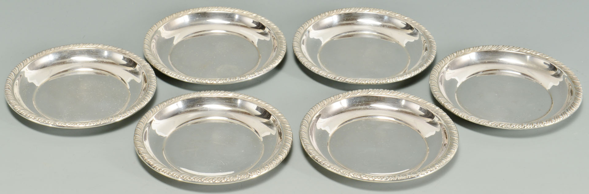 Lot 593: 2 Prs. Sterling Creamers & Sugars, plus Butter Pat