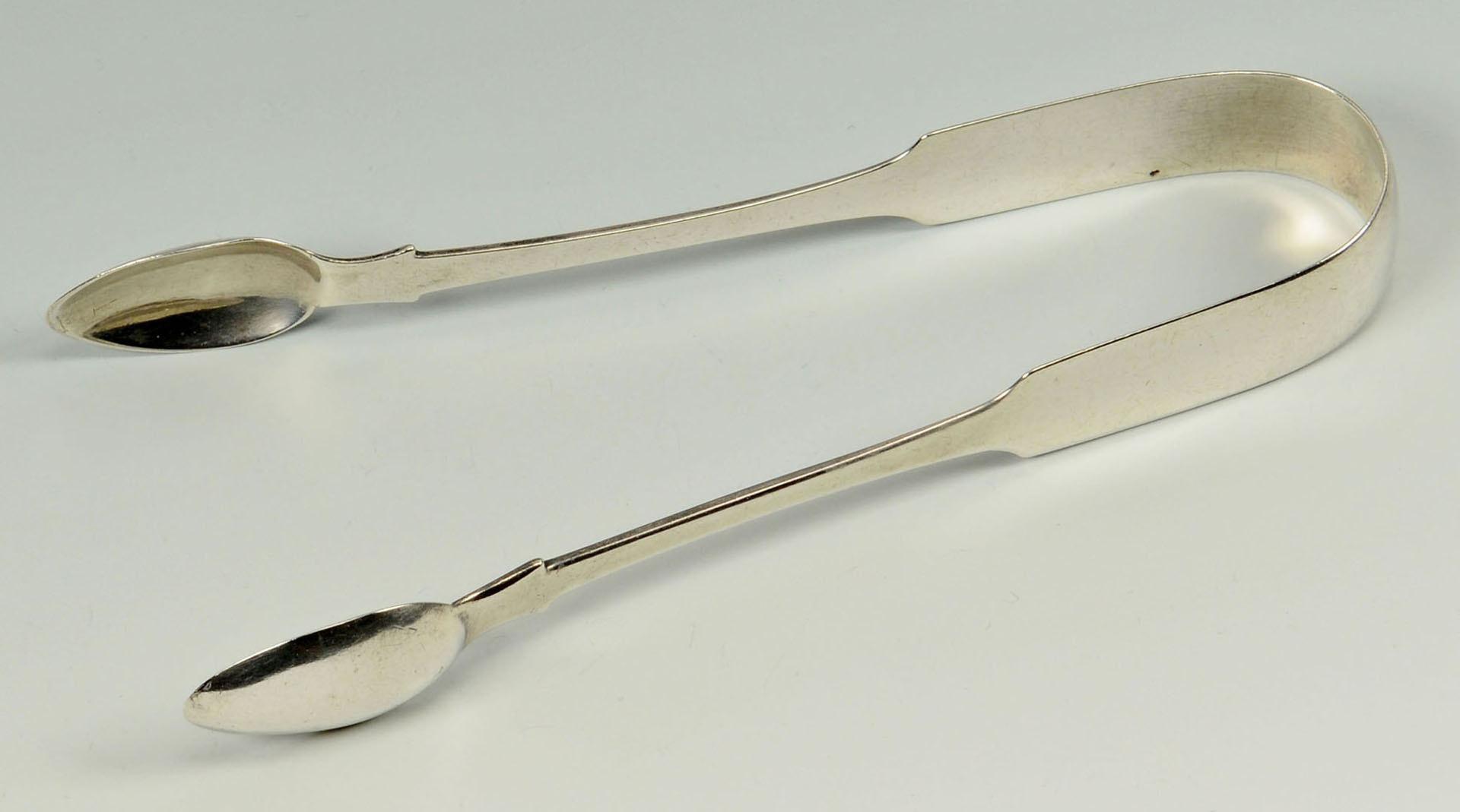 Lot 595: 2 Irish Silver sauce ladles and 1 pr tongs