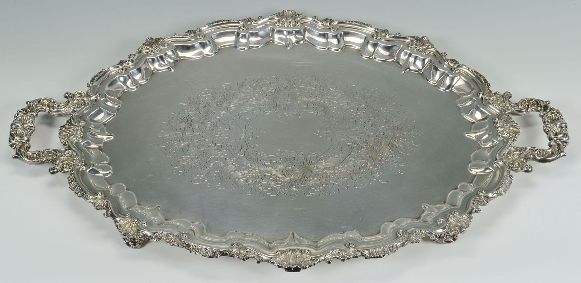Lot 597: Elkington Tea/Coffee Service, tray and candlestick