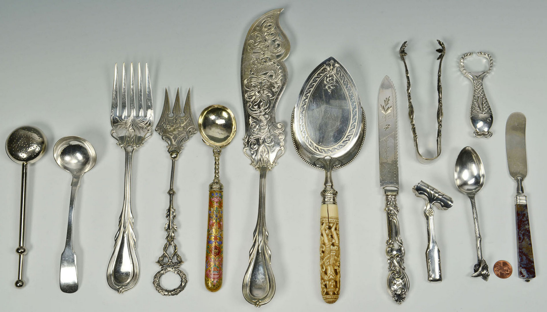 Lot 604: Assorted Silver Serving Items, 13 pieces