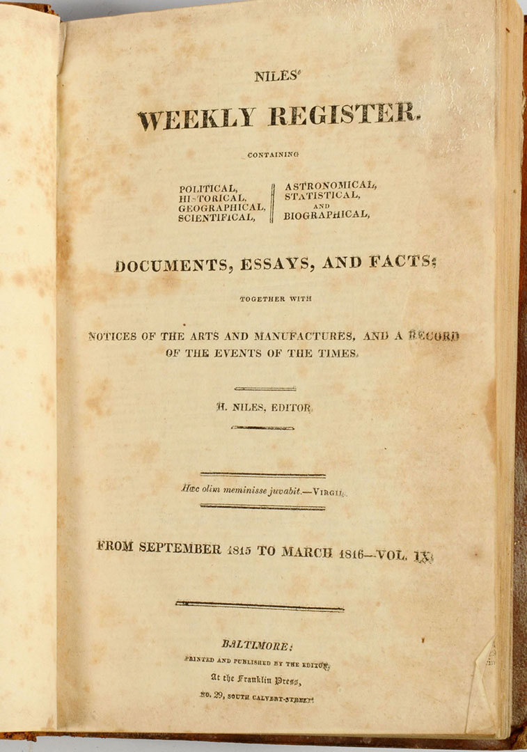 Lot 605: The Niles' Weekly Register, 8 volumes