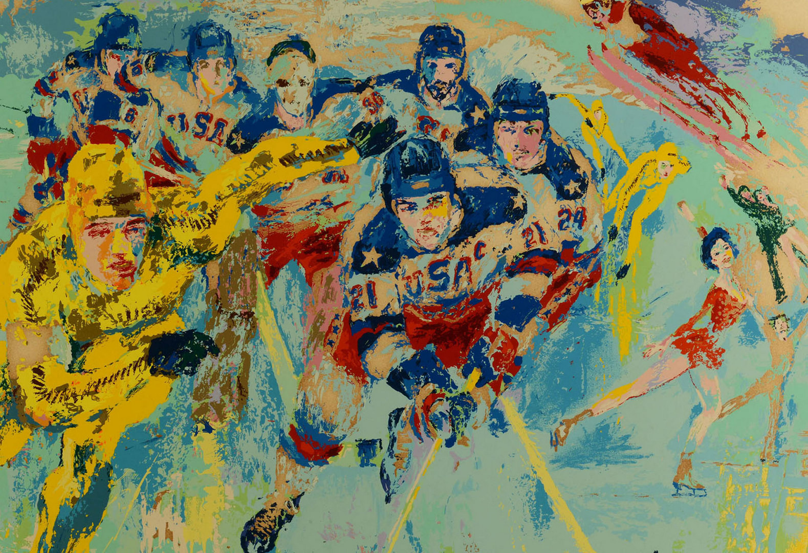 "Lot 617: Leroy Neiman, ""Lake Placid 1980"", signed Serigraph"