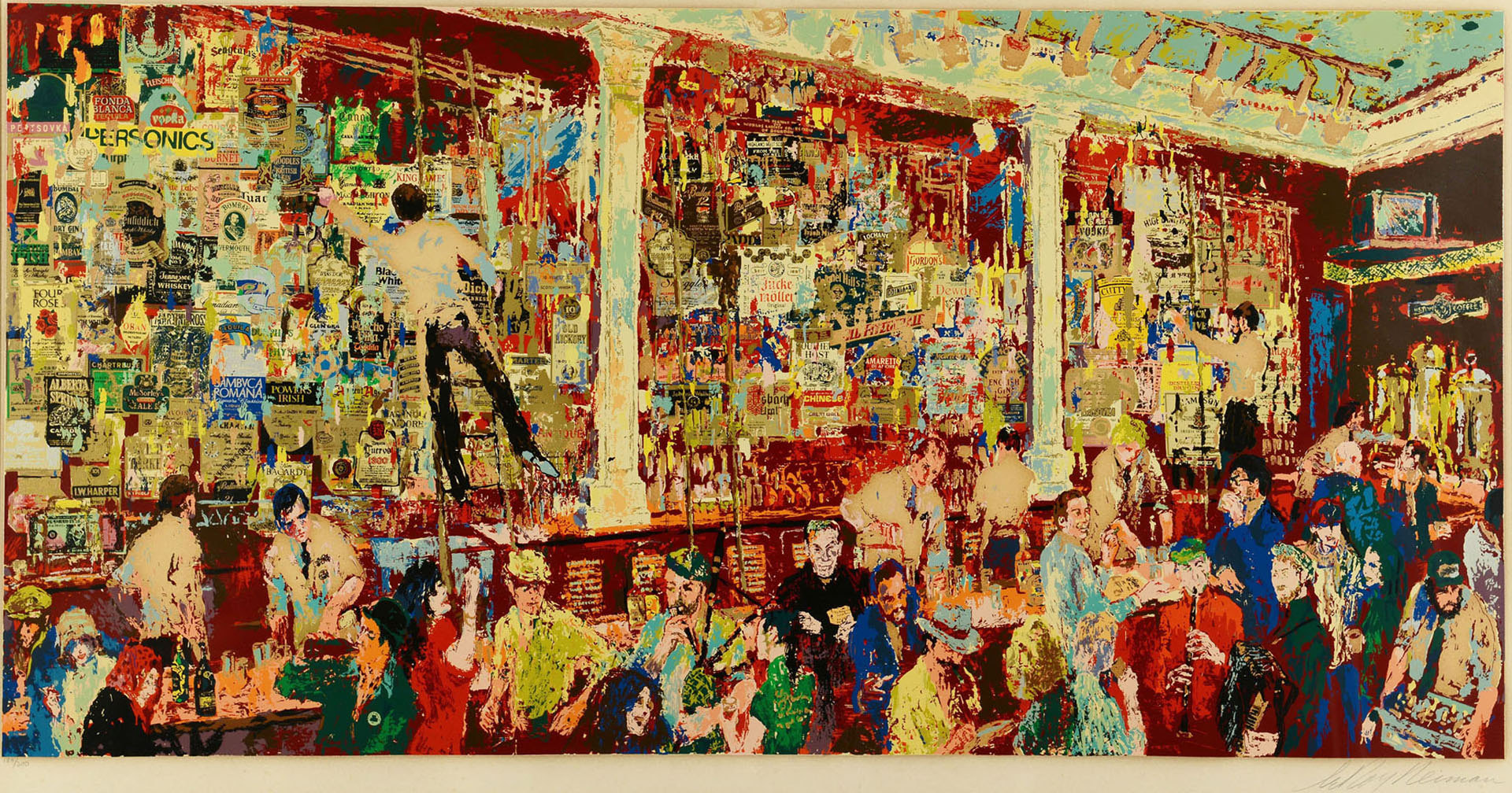 "Lot 618: Leroy Neiman, ""F.X. McRory's Whiskey Bar"", signed"