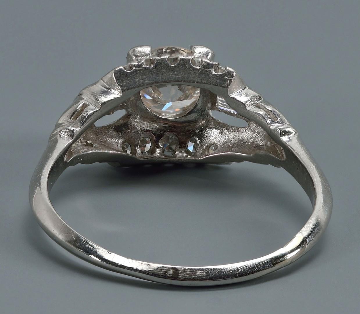 Lot 61: Vintage Plat .75 ct Round Brilliant Diamond Ring
