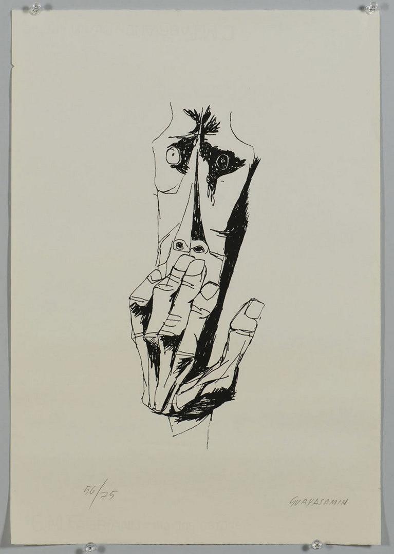 Lot 623: Oswaldo Guayasamin lithograph, Face