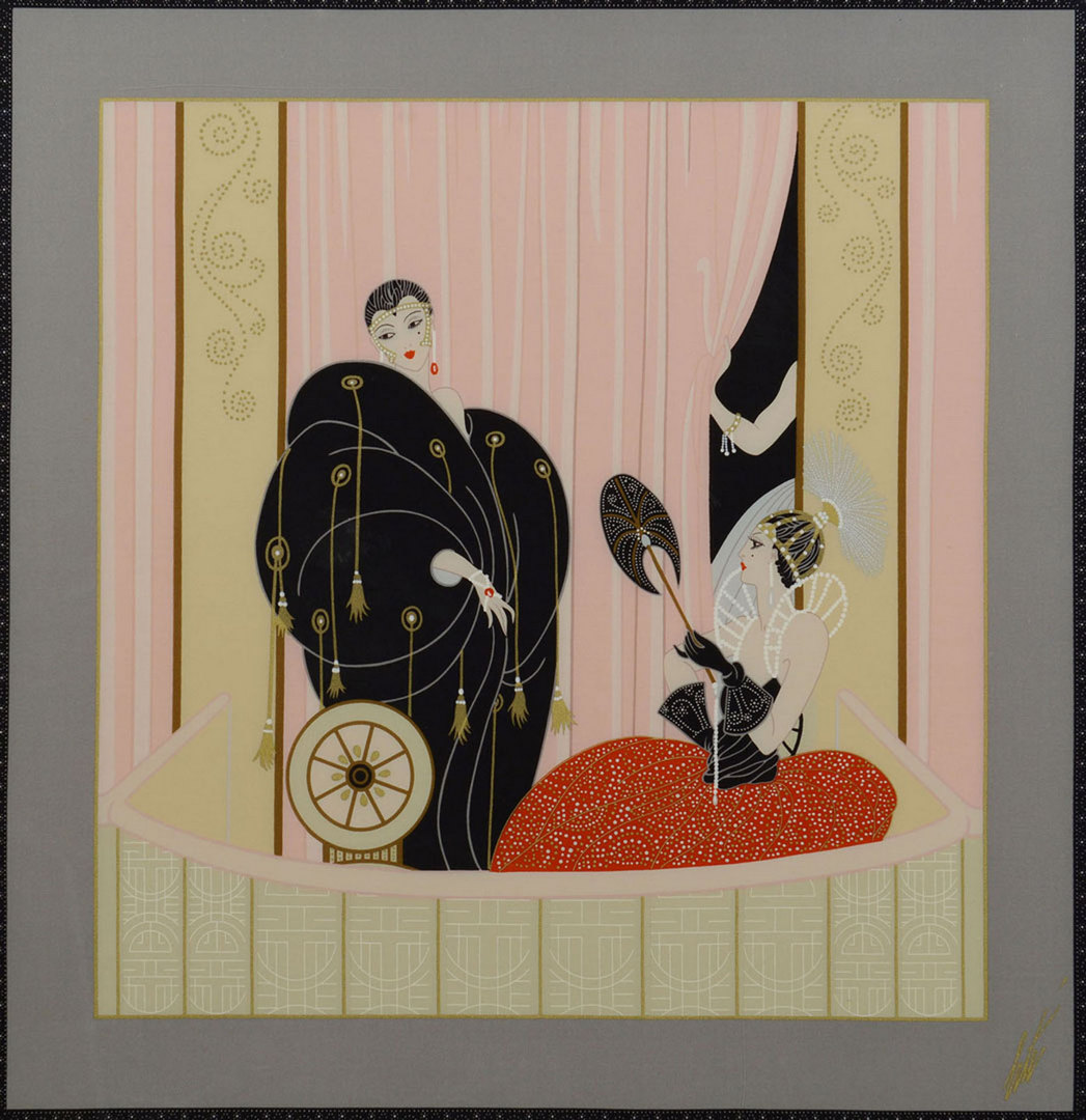 Lot 624: Framed Erte Silk Scarf, L'Opera