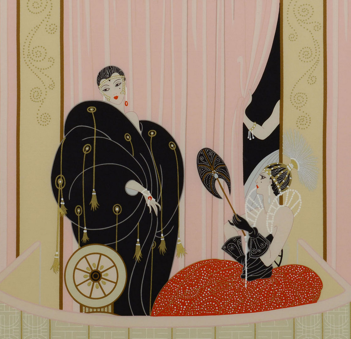Lot 624: Framed Erte Silk Scarf, L'Opera