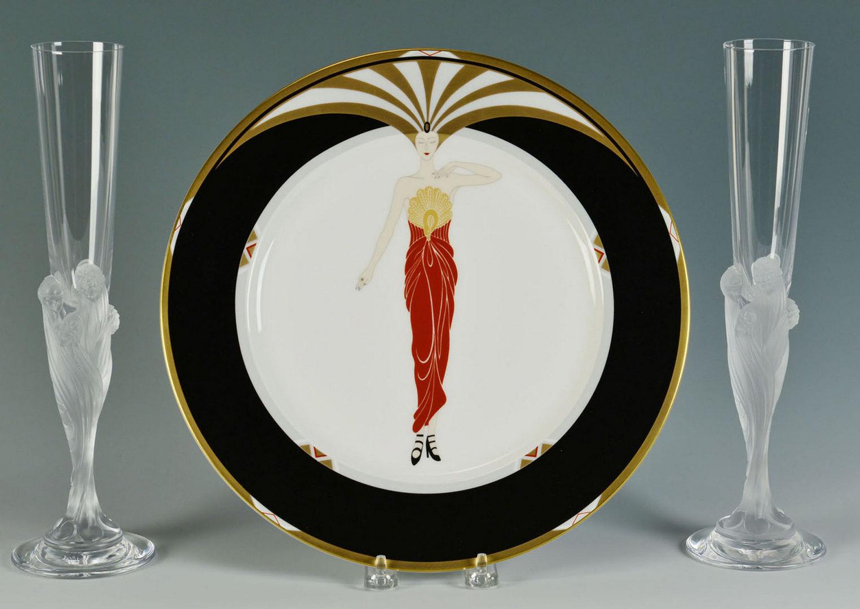Lot 625: 2 Erte Figural Champagne Flutes & Plate