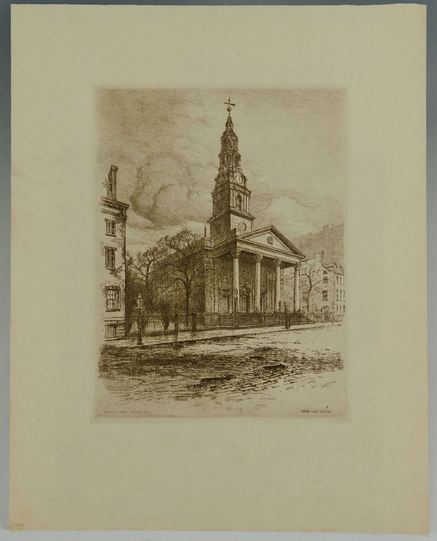Lot 627: Walworth Stilson, 8 Etchings of New York City