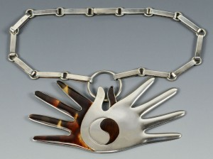 Lot 62: Spratling Mexico Silver and Faux Tortoise Necklace