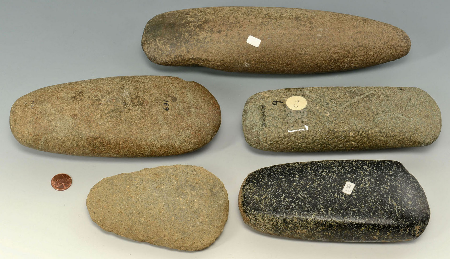 Lot 637: Grouping of Five (5) Celts, Granite & Other