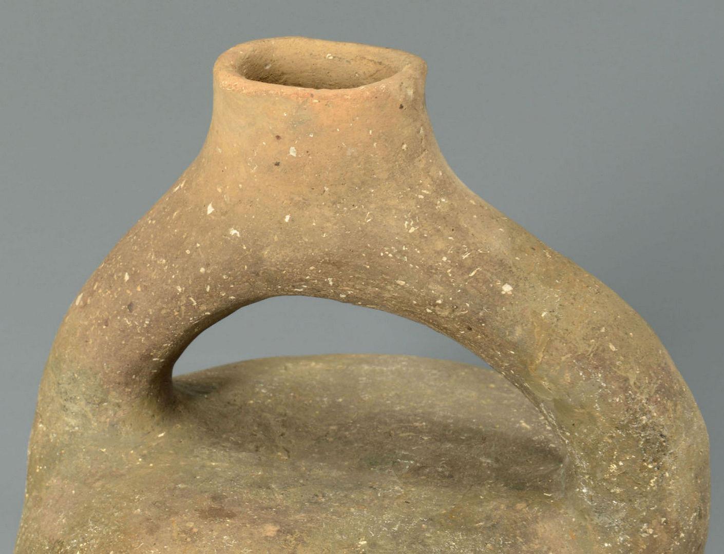 Lot 639: Mississippian Greyware Stirrup Jar