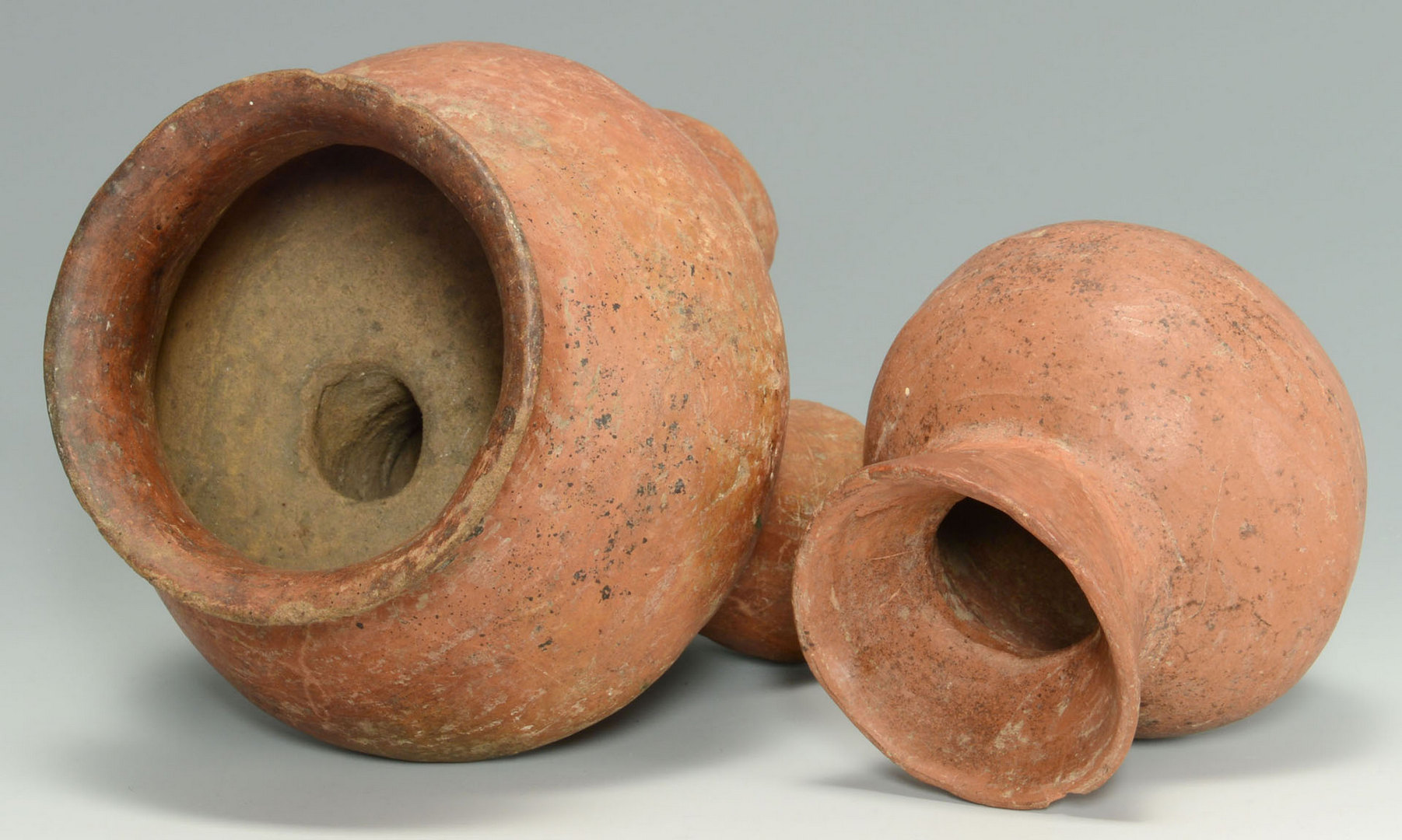 Lot 643: Southwestern/Mexican redware tripod bowl & jar, 2