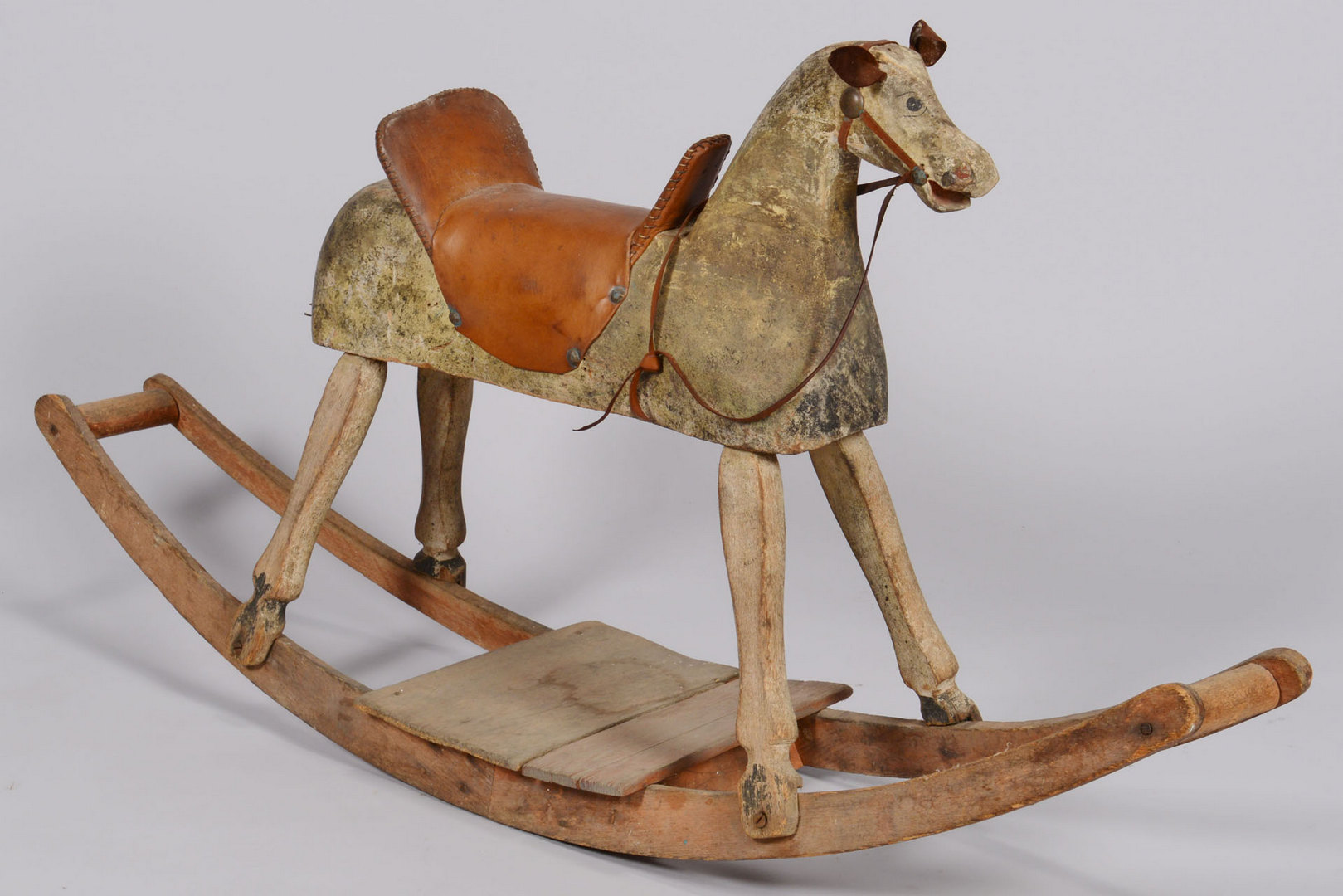 Wooden Rocking Horse ~ Lot painted wood rocking horse late th c