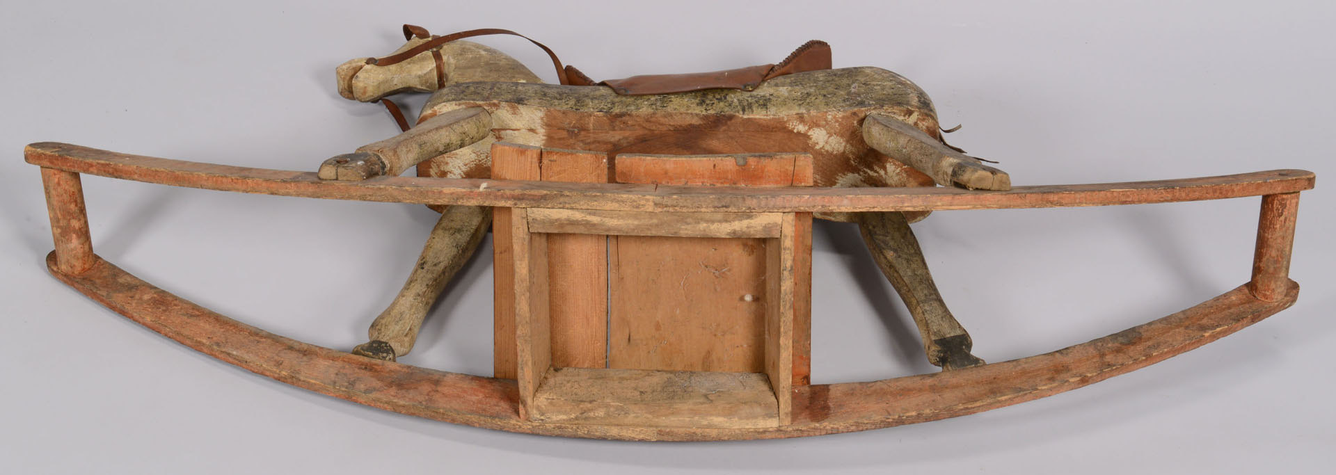 Lot 651: Painted wood rocking horse, late 19th c.