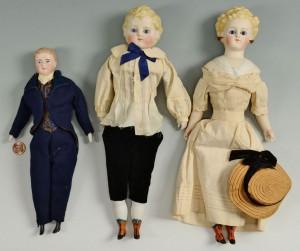 Lot 654: 3 Bisque Fashion Dolls