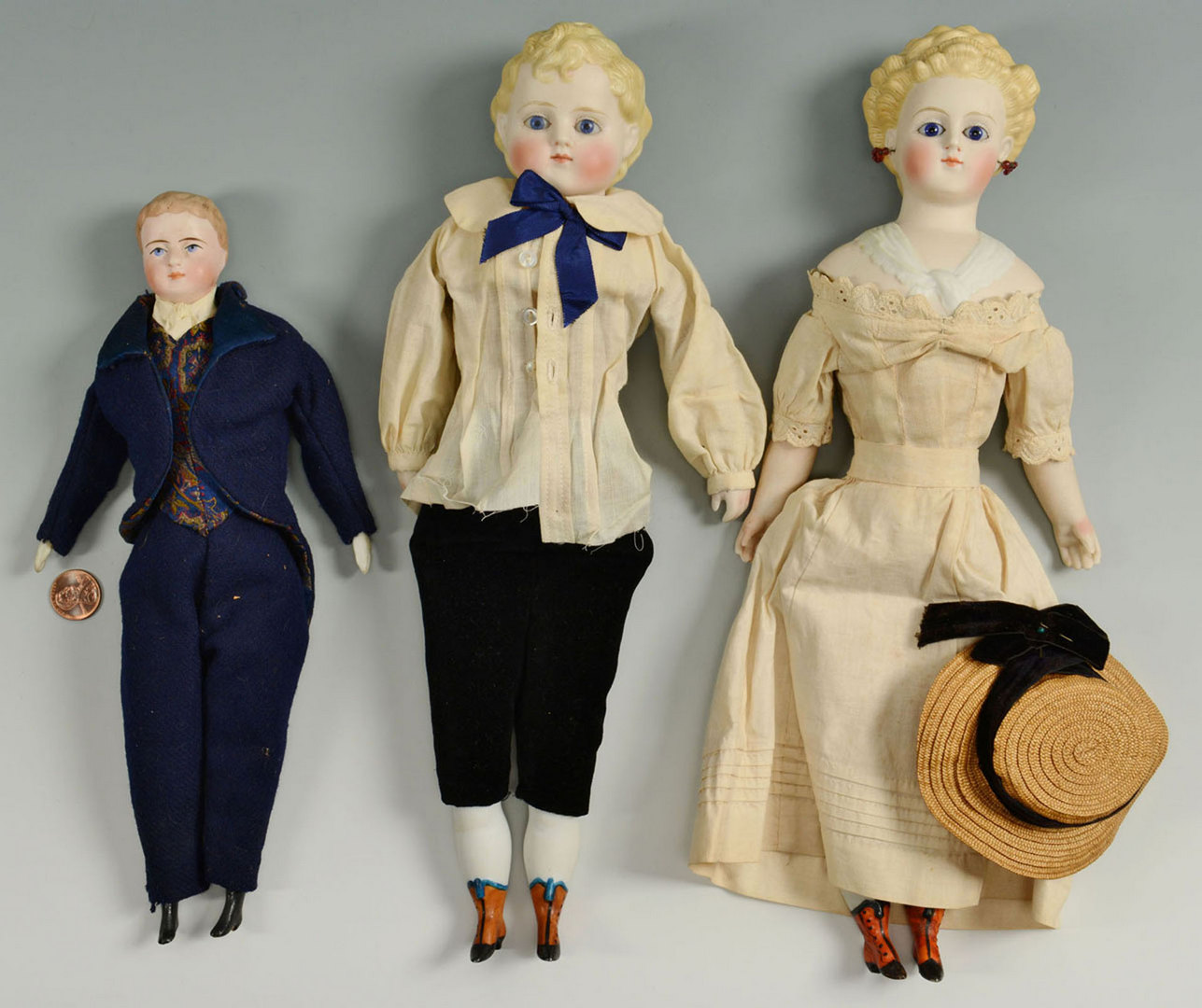 Lot 654: 3 Bisque Fashion Dolls