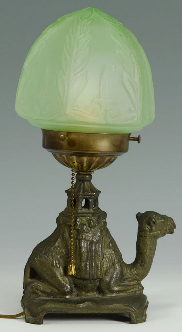Lot 665: Art Deco Style Table Lamp w/ Camel Figural Base