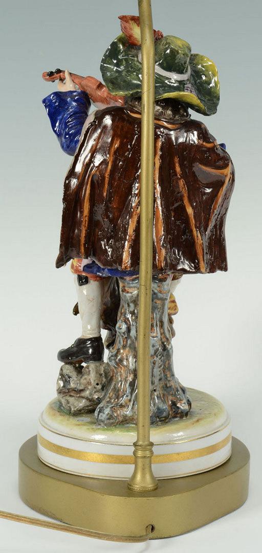 Lot 667: Capodimonte Figural Lamp, Violin Player