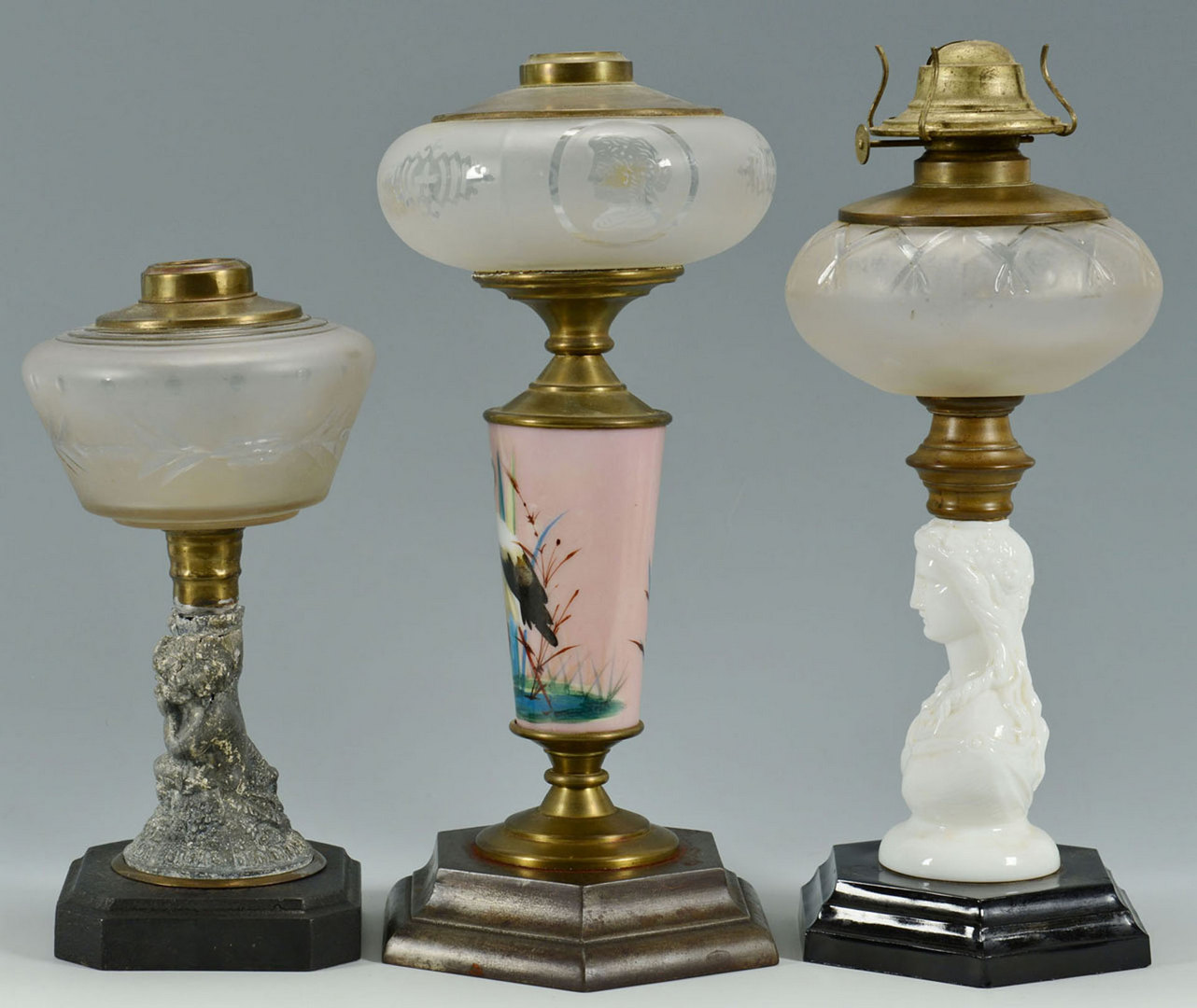 Lot 668: 3 Classical Oil Lamps
