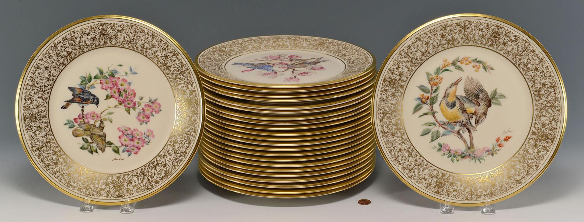 Lot 670: 24 Boehm Bird Plates by Lenox