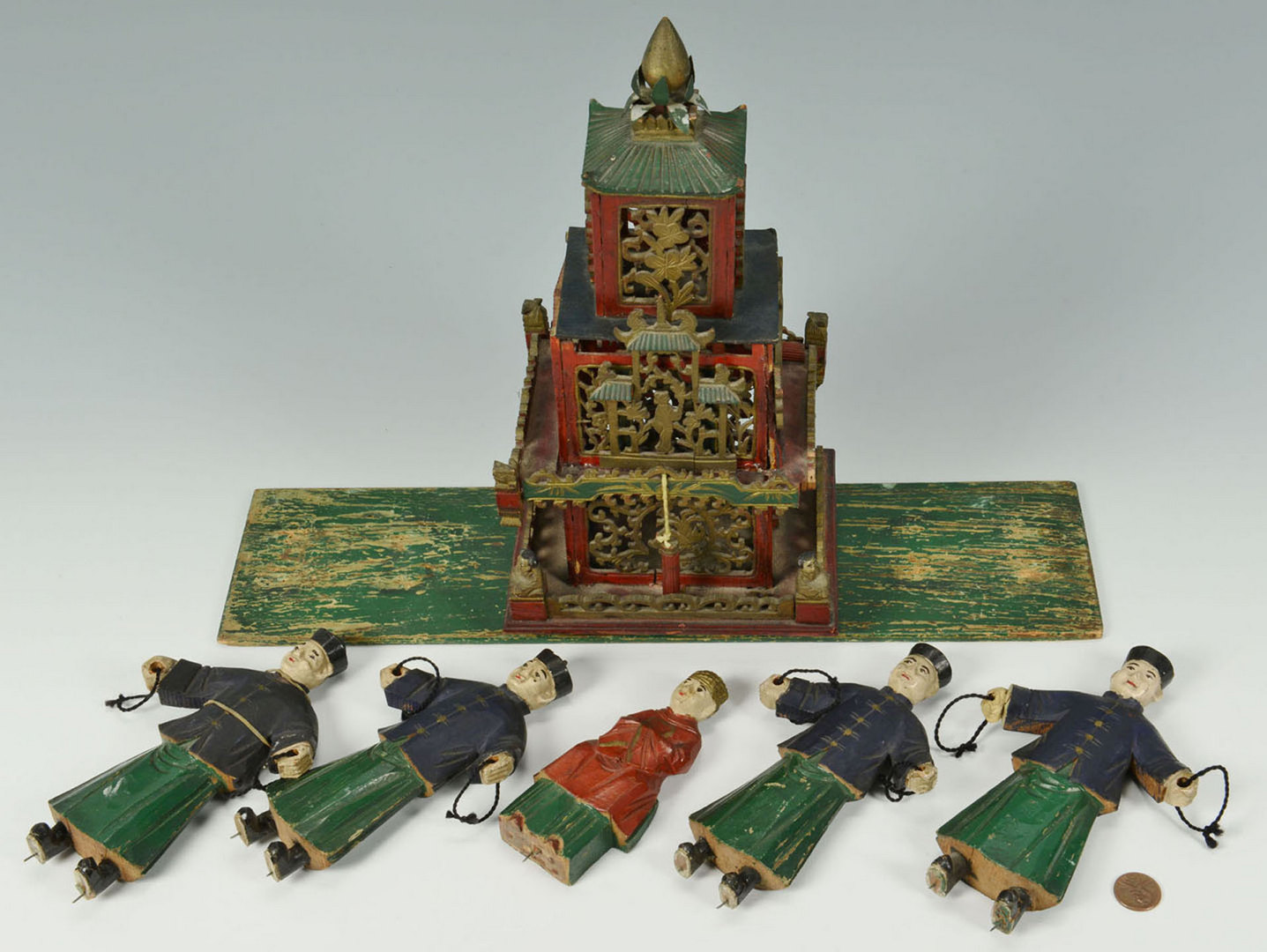 Lot 672: Carved Asian Buddhist Shrine w/ Figures