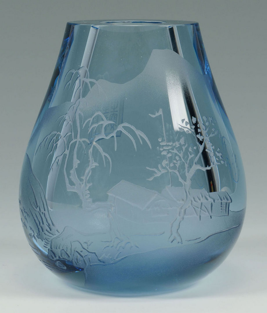 Lot 673: Chinese Clear Glass Vase w/ Seals, Landscape Scene